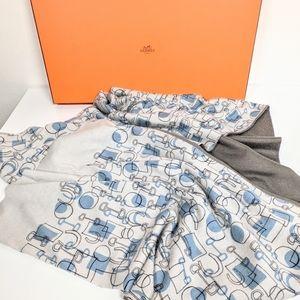 Vtg Hermes MCM print cashmere silk long scarf